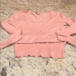 J crew blush v neck sweater